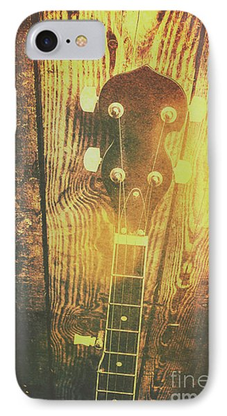 Golden Banjo Neck In Retro Folk Style IPhone Case by Jorgo Photography - Wall Art Gallery