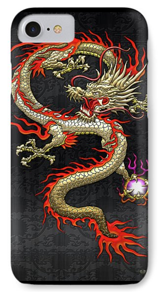 Golden Chinese Dragon Fucanglong On Black Silk IPhone Case