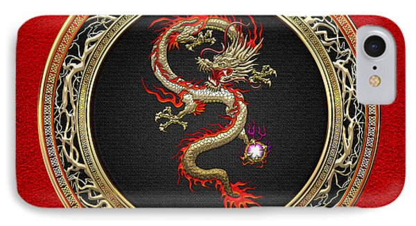 Golden Chinese Dragon Fucanglong On Red Leather  IPhone Case by Serge Averbukh