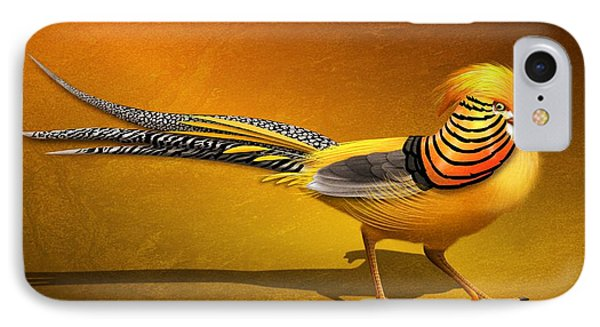 Golden Chinese Pheasant IPhone Case by John Wills