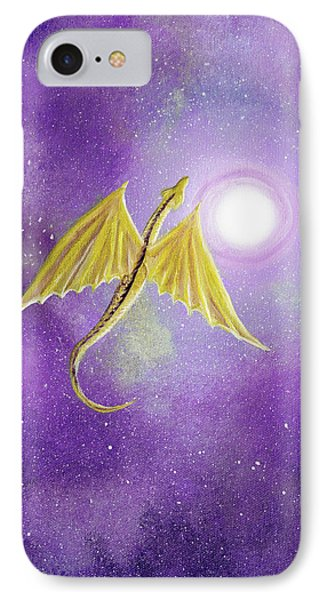 Golden Dragon Soaring In Purple Cosmos IPhone Case by Laura Iverson