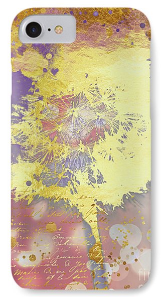 Golden Dreams Abstract Gold Dandelion IPhone Case by Tina Lavoie