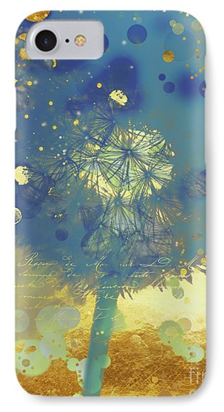 Golden Dreams II Abstract Marine Blue And Gold Dandelion Puff IPhone Case