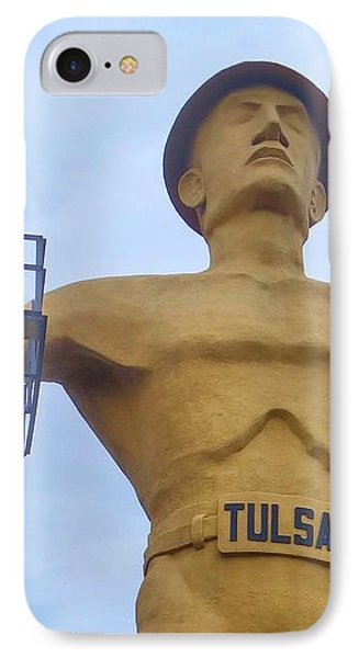 Golden Driller 76 Feet Tall IPhone Case by Janette Boyd