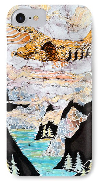 Golden Eagle Flies Above Clouds And Mountains Phone Case by Carol  Law Conklin