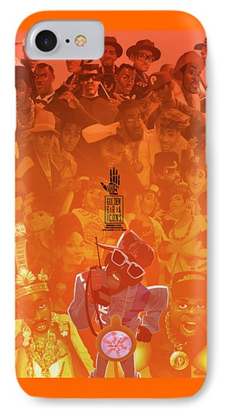 IPhone Case featuring the digital art Golden Era Icons Collage 1 by Nelson dedos Garcia