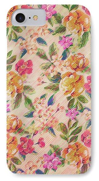 Golden Flitch Digital Vintage Retro  Glitched Pastel Flowers  Floral Design Pattern IPhone Case by Philipp Rietz