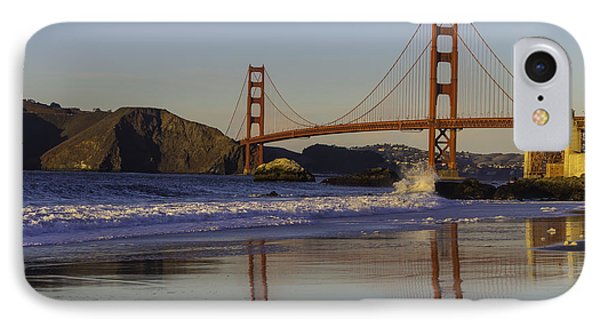 Golden Gate And Waves IPhone Case by Garry Gay