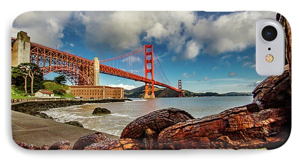 IPhone Case featuring the photograph Golden Gate Bridge And Ft Point by Bill Gallagher