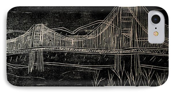 Golden Gate Bridge Black And White Woodcut Print  IPhone Case by Marina McLain