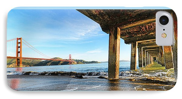 Golden Gate Bridge From Under Fort Point Pier IPhone Case by Steve Siri