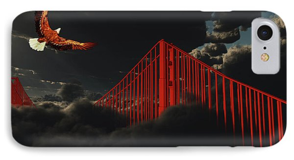 Golden Gate Bridge In Heavy Fog Clouds With Eagle IPhone Case by Bruce Rolff