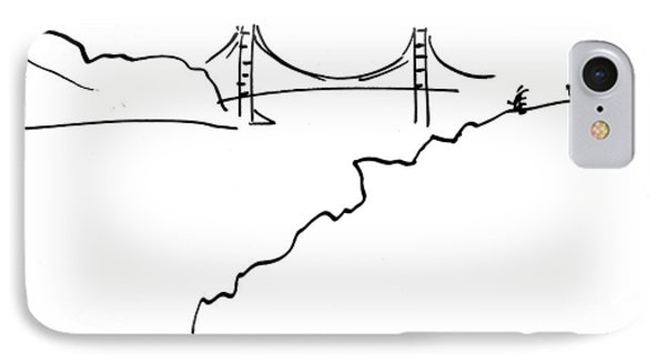 IPhone Case featuring the drawing Golden Gate Bridge by Patrick Morgan