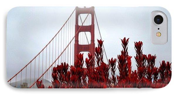 Golden Gate Bridge Red Flowers IPhone Case by Matt Harang