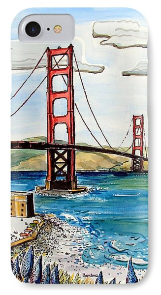IPhone Case featuring the painting Golden Gate Bridge by Terry Banderas
