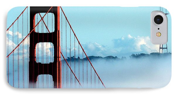 Golden Gate Bridge Tower Fog Antenna IPhone Case by Jeff Lowe