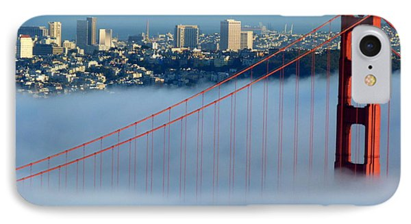 Golden Gate Bridge Tower In Sunshine And Fog IPhone Case by Jeff Lowe
