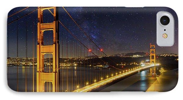 Golden Gate Bridge Under The Starry Night Sky Phone Case by David Gn