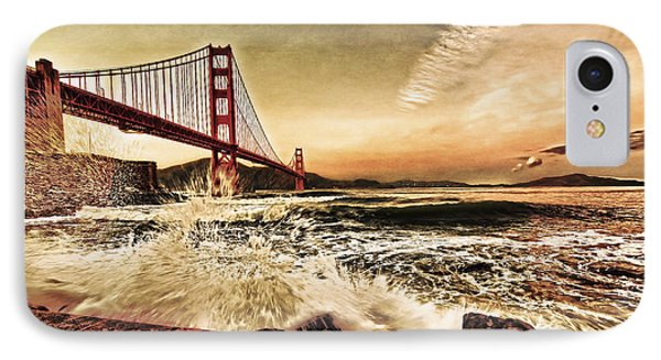 IPhone Case featuring the photograph Golden Gate Bridge Waves by Steve Siri