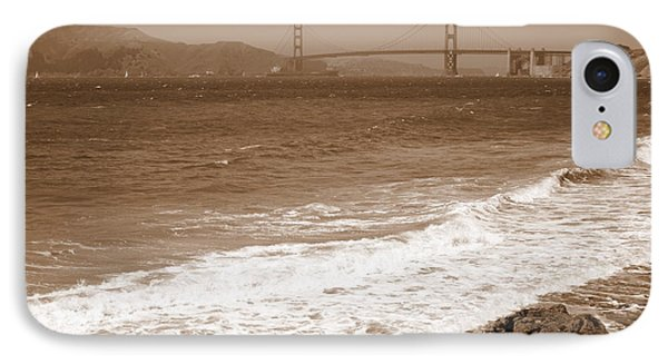 Golden Gate Bridge With Shore - Sepia Phone Case by Carol Groenen