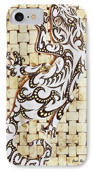IPhone Case featuring the painting Golden Gecko by J- J- Espinoza