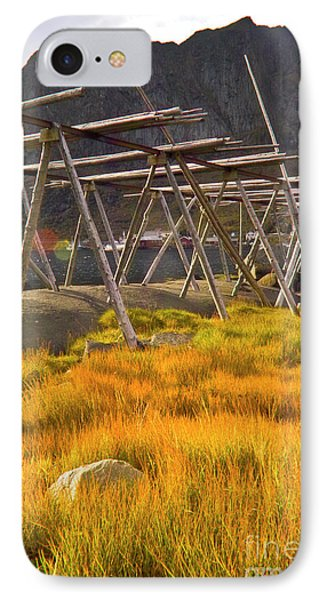 Golden Gras And Fish Drying Rack Phone Case by Heiko Koehrer-Wagner