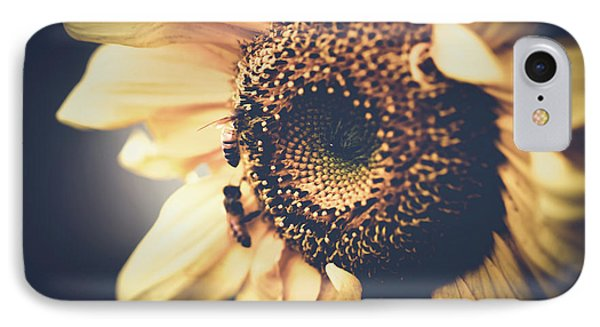 IPhone Case featuring the photograph Golden Honey Bees And Sunflower by Sharon Mau