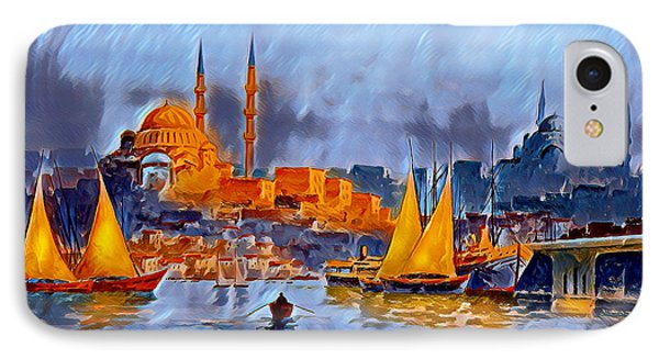 IPhone Case featuring the digital art Golden Horn Of Istanbul by Pennie McCracken