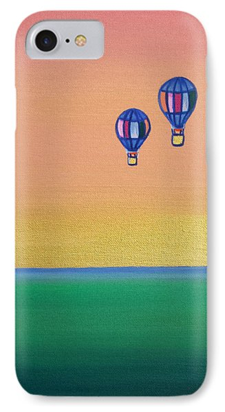 Golden Landscape And Balloons Phone Case by Beryllium Canvas