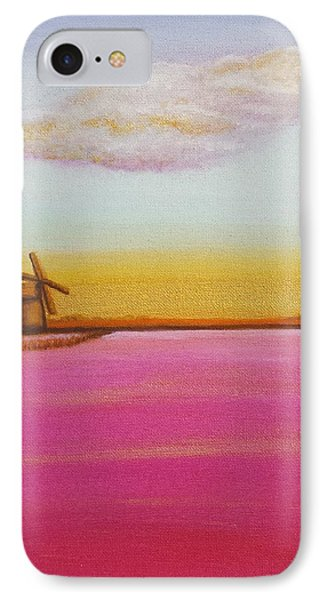 Golden Landscape With Windmill Phone Case by Beryllium Canvas