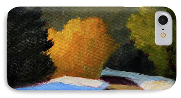 IPhone 7 Case featuring the painting Golden Light Winter Road by Nancy Merkle