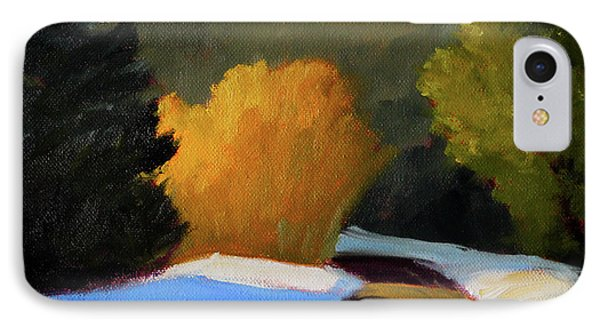 IPhone Case featuring the painting Golden Light Winter Road by Nancy Merkle