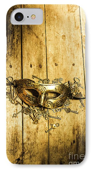 Golden Masquerade Mask With Keys IPhone Case by Jorgo Photography - Wall Art Gallery