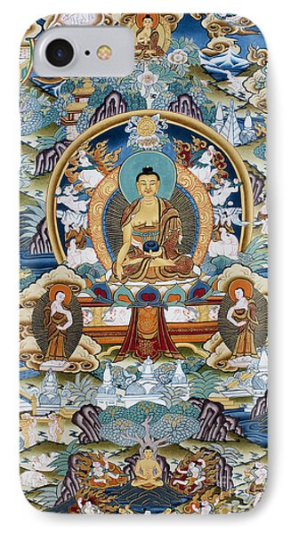 Golden Medicine Buddha Thangka IPhone Case by Tim Gainey
