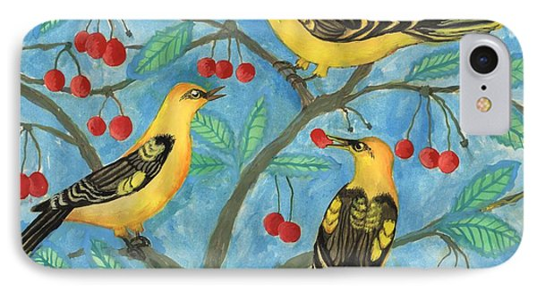 Golden Orioles In A Cherry Tree IPhone Case
