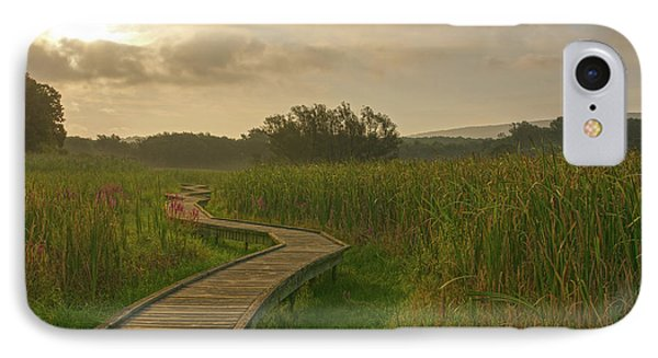 Golden Pathway To A Foggy Sun IPhone Case by Angelo Marcialis