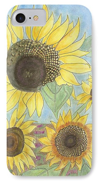 IPhone Case featuring the drawing Golden Quartet by Arlene Crafton