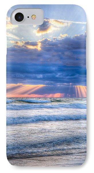 Golden Rays In Blue IPhone Case by Debra and Dave Vanderlaan
