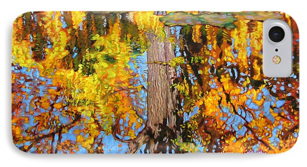 Golden Reflections On Lily Pond Phone Case by John Lautermilch
