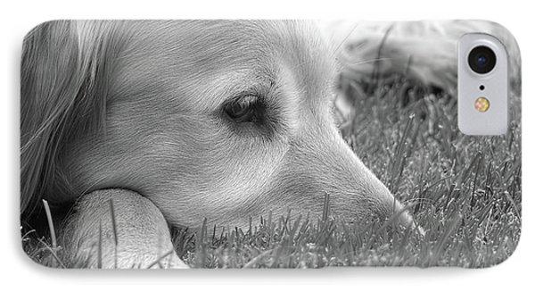 Golden Retriever Dog In The Cool Grass Monochrome Phone Case by Jennie Marie Schell