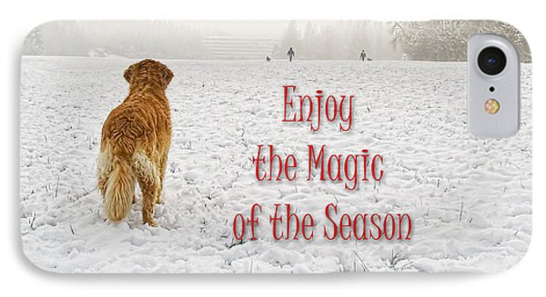 Golden Retriever Dog Magic Of The Season Phone Case by Jennie Marie Schell