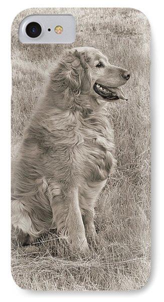Golden Retriever Dog Sepia Phone Case by Jennie Marie Schell