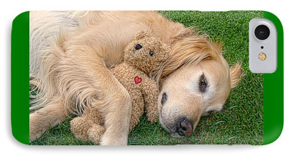 Golden Retriever Dog Teddy Bear Love Phone Case by Jennie Marie Schell