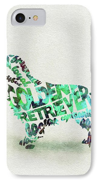 IPhone Case featuring the painting Golden Retriever Dog Watercolor Painting / Typographic Art by Ayse and Deniz