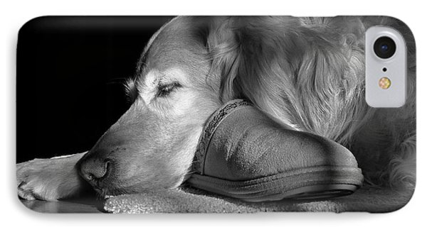 Golden Retriever Dog With Master's Slipper Black And White Phone Case by Jennie Marie Schell