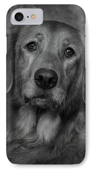 Golden Retriever In Black And White IPhone Case by Greg Mimbs