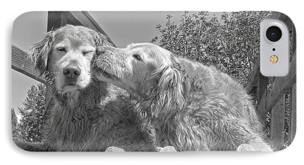 Golden Retrievers The Kiss Black And White Phone Case by Jennie Marie Schell