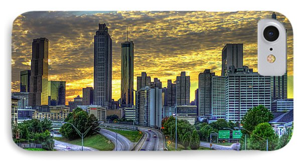 IPhone Case featuring the photograph Golden Skies Atlanta Downtown Sunset Cityscape Art by Reid Callaway