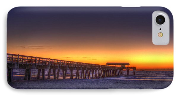 Golden Skies Tybee Island Pier IPhone Case by Reid Callaway