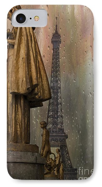 Golden Statues On Trocadero With View Towards Eiffel Tower Paris IPhone Case by Juli Scalzi
